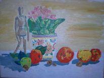 Blumentopf, Obst, Stillleben, Kastanien