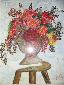 Stillleben, Vase, Beerenstrauß, Blumen