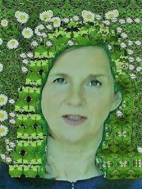 Farben, Menschen, Grün, Frau