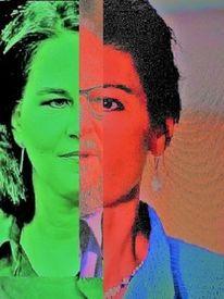 Mann, Grünrotrot, Politische farbenlehre, Portrait