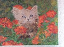 Katze, Blumen, Malerei