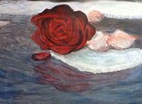 Spiegelung, Wasser, Rose, Eis