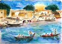 Boot, Sonne, Fluss, Baum