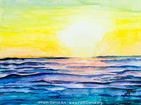 Californien, Aquarellmalerei, Sonnenuntergang, Aquarell