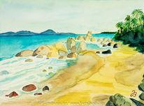 Urlaub, Palmen, Guinea, Strand