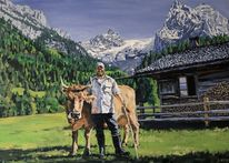 Grün, Alp, Kuh, Portrait