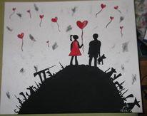 Weiß, Rot schwarz, Kinder, Waffe