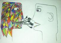 Kopf, Kunsthandwerk, Bunt, Malerei