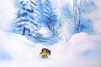 Aschenputtel, Hund, Abschied, Aquarellmalerei