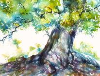 Buch, Unterfranken, Baum, Aquarellmalerei