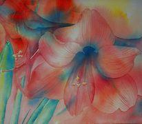 Aquarellmalerei, Blüte, Blumen, Rot