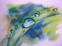 Aquarellmalerei, Tropfen, Balance, Blätter