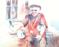 Thrilled, Aquarellmalerei, Portrait, Vespa