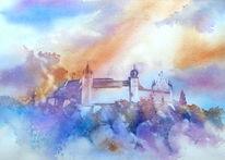 Oberfranken, Aquarellmalerei, Festung, Veste