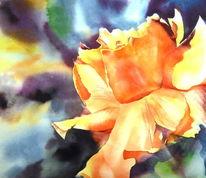 Farben, Aquarellmalerei, Blumen, Lachsfarben