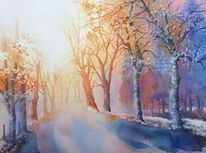 Herbst, Winter, Aquarellmalerei, Baum