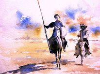 Aquarellmalerei, Ritter, Don quijote, Mancha