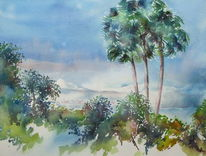 Aquarellmalerei, Teneriffa, El refugio, Kanarische inseln