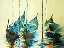 Venedig, Italien, Gondel, Aquarellmalerei