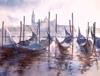 Gondel, Aquarellmalerei, Venedig, Venezia