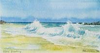 Meer, Ozean, Aquarellmalerei, Strand