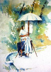 Malen, Aquarellmalerei, Bad windsheim, Pleinair