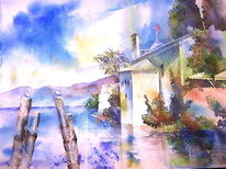 Garda, Aquarellmalerei, Gardasee, Italien
