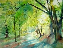 Hofgarten, Park, Veste, Aquarellmalerei