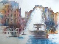 London, Aquarellmalerei, Trafalgar square, Großbritannien