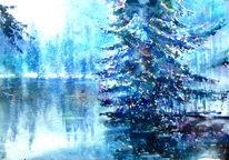 Schnee, Thüringen, Aquarellmalerei, Baum