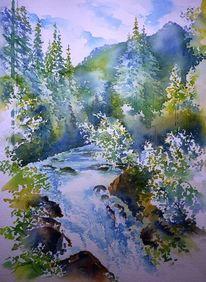 Aquarellmalerei, Gerlos, Wildgerlostal, Landschaft