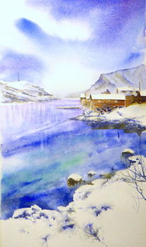 Norwegen, Winter, Schnee, Fjord