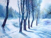 Aquarellmalerei, Licht, Winter, Baum