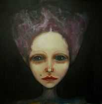 Frau, Nacht, Ölmalerei, Lila