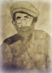 Alter mann, Bleistiftzeichnung, Malerei, Menschen