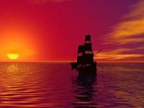 3d, Sonne, Sonnenuntergang, Meer