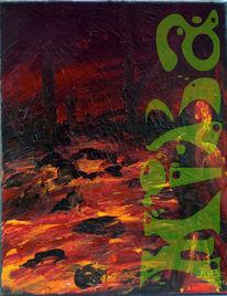 Feuer, Haut, Acrylmalerei, Malerei