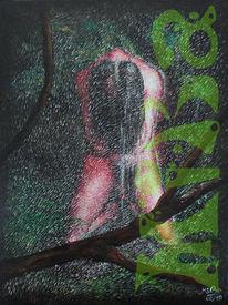 Mann, Regen, Acrylmalerei, Malerei