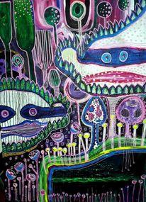 Malerei, Teich, Garten