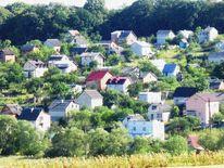 Dorf, Häuser, Baum, Sommer