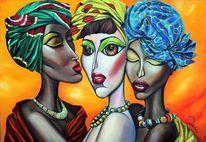 Groß, Ölmalerei, Afrikanische schönheiten, Frauenportrait