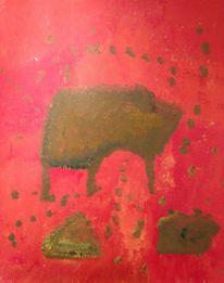 Acrylmalerei, Wildschwein, Malerei, Abstrakt