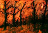 Zeitgenössische kunst, Inferno, Herbst, Atmosphäre