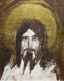 Portrait, Jesus, Gold, Malerei