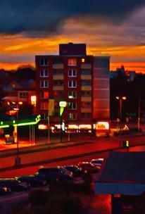 Landschaft, Stadt, Nacht, Digitale kunst
