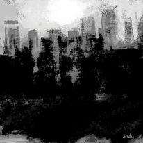 Stadt, Abend, Perfekt, Schwarz weiß