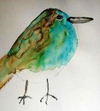 Vogel, Aquatürkis, Aquarellmalerei, Studie
