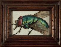 Miniatur, Malerei, Surreal, Fliege