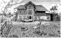 Haus, Zeichnung, Buch, Landschaft
