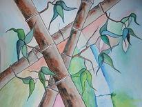 Aquarellmalerei, Bambus, Pflanzen, Aquarell